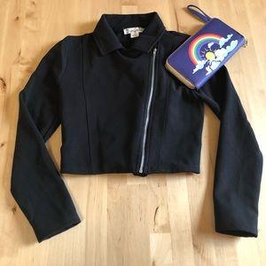 Knitworks Black Moto Jacket Girls Sz 10